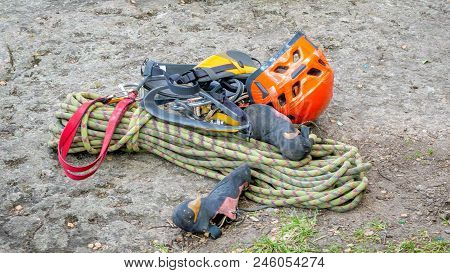 Professional Equipment For Mountaineering. Rope, Helmet And Shoes