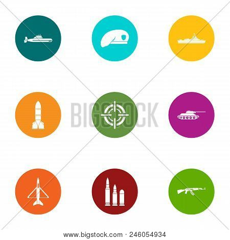 Defense Equipment Icons Set. Flat Set Of 9 Defense Equipment Vector Icons For Web Isolated On White