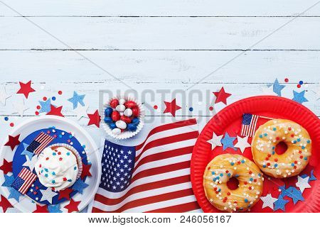 Happy Independence Day 4th July Background With American Flag And Sweet Foods, Decorated With Stars