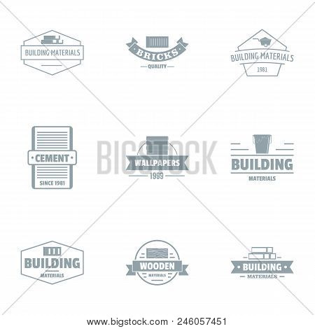Cement Mortar Logo Set. Simple Set Of 9 Cement Mortar Vector Logo For Web Isolated On White Backgrou