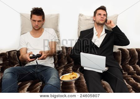 Gamer and Businessman side by side