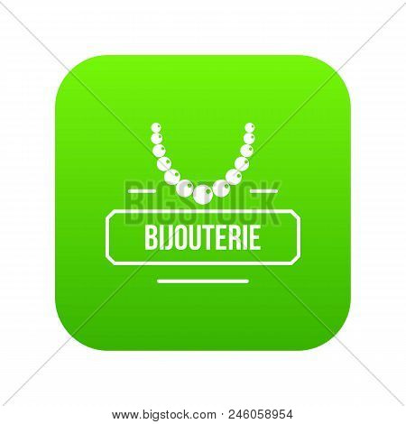 Jewelry Bijouterie Icon Green Vector Isolated On White Background