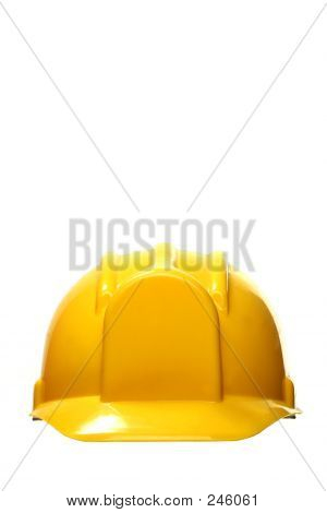 yellow safety headgear on white background with copy space poster