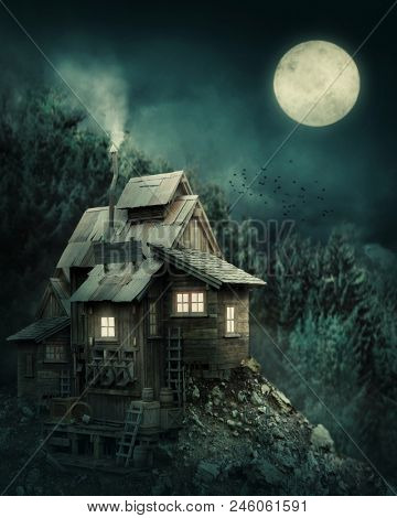 Witch house in mysterious forest at night