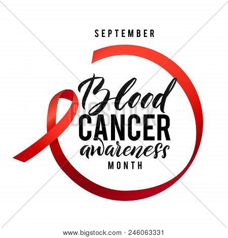 Cancer Hope. Blood Cancer Awareness Label. Vector Tamplate With Red Ribbon - Symbol Of Cancer Fight.