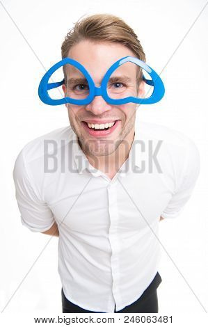 Love Turns You Upside Down Man Happy Smiling Blond Blue Eyes In Heart Shaped Eyeglasses Fall In Love