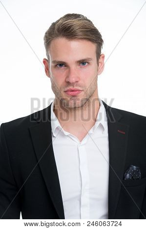 Man Well Groomed In Formal Outfit, Isolated White Background. Male Fashion Concept. Business Dress C