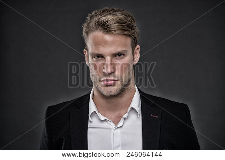 Guy confident in his appearance. Confidence and masculinity. Guy handsome attractive formal wear. Man well groomed with bristle and hairstyle grey background. Macho confident strict face close up. poster