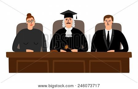Judges Court. Federal Richter And Judges In Courtroom Vector Illustration, Law Verdict Concept
