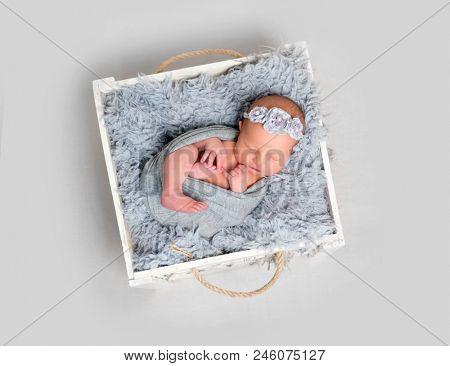 Newborn baby girl asleeps in wooden box