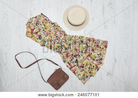 Summer Floral Dress, Handbag And Hat. Fashionable Concept