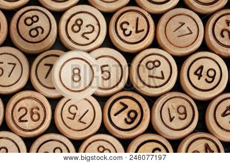 Lucky Number 8 On The Background Of Wooden Keg Lotto. Close Up