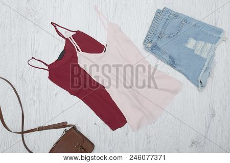 Pink And Burgundy Tank Top, Ripped Jeans Shorts. Fashionable Concept