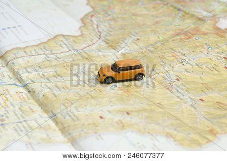 Kharkov, Ukraine- 13 April 2018: Car On The Map. Travel Concept.