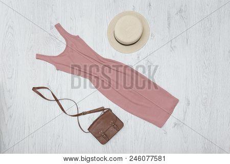 Pink Summer Dress, Handbag And Hat. Fashionable Concept