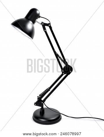 Metal Desktop Lamp, Black Lamp, Isolated On White Background. Design Lamp, Working Place Or Business