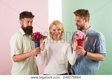 Men Competitors With Bouquets Flowers Try Conquer Girl. Girl Smiling Reject Gifts. Feminism Concept.