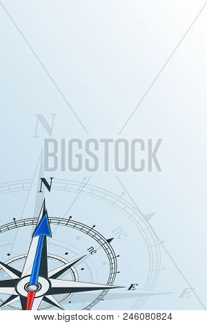 Compass North Background Vector Illustration. Arrow Points To North. Compass On A Blue Background. C