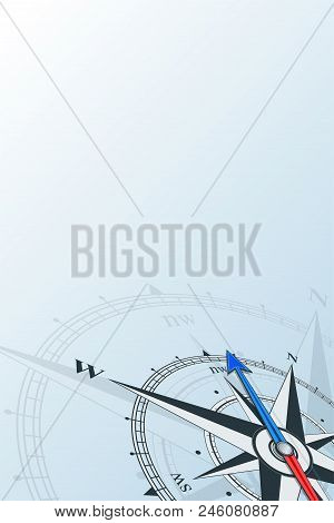 Compass Northwest Background Vector Illustration. Arrow Points To The Northwest. Compass On A Blue B
