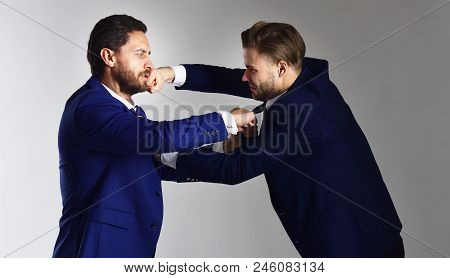 Men Wearing Suits And Boxing. Conflict Of Interest, Political Fight. Businessman And Politician Figh