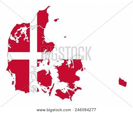 Flag Of Denmark In Country Silhouette. Danish National State Ensign, A White Scandinavian Cross On A