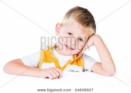 Attractive Smiling Boy isolated on white background