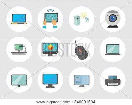 Computer Icon Set. Mouse Tablet Internet Connection Web Camera Open Laptop Desk Monitor Big Monitor
