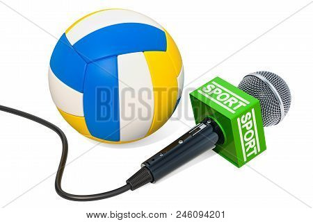 Volleyball News Concept. Microphone Sport News With Volleyball Ball, 3d Rendering Isolated On White