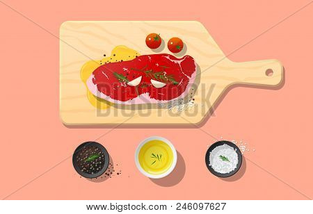 Fresh Raw Beef, Strip Loin Steak And Spices On Wooden Cutting Board, Food Preparation, Vector, Illus