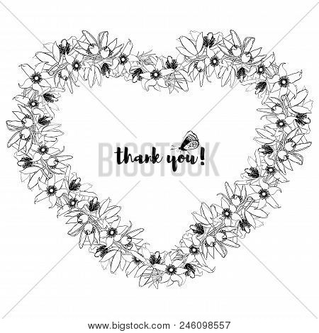 Hand Drawn Vintage Floral Heart Shaped Frame. Black And White. Stock Vector Illustration.