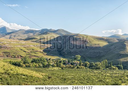 Golden Gate Highlands National Park, South Africa - March 12, 2018: Aerial View Of The Glen Reenen R