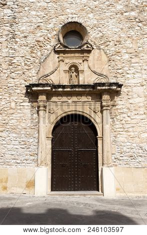 Front Door Of Sant Jaume Church. Creixell, Costa Dorada, Tarragona, Spain.