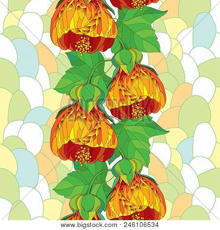 Vector Seamless Pattern Of Outline Orange Abutilon Or Indian Mallow Flower And Ornate Green Leaf On