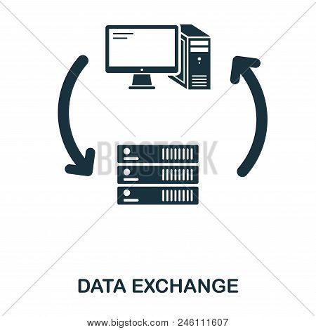 Server Data Exchange Icon. Line Style Icon Design. Ui. Illustration Of Server Data Exchange Icon. Pi