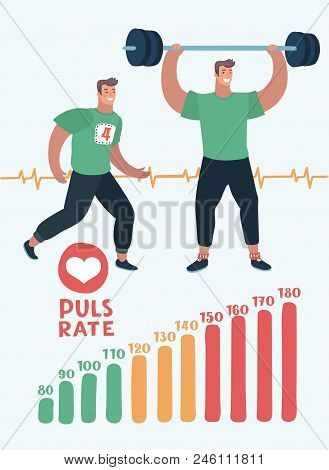 Vector Cartoon Illustration Of Element Of Pulse Rate Scale, Running Man, Man With Barbell And Rate P