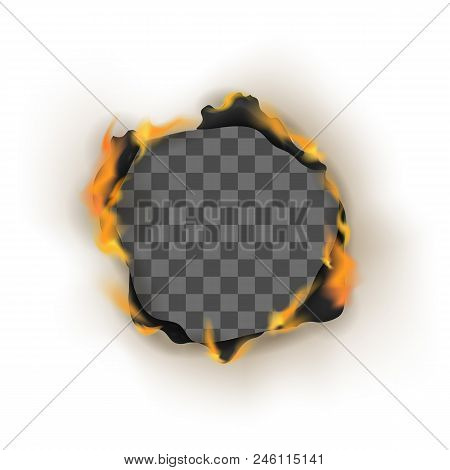 Realistic Detailed 3d Burn Empty Hole Paper Isolated On White Background Decoration Element Or Frame