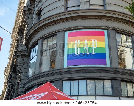 San Francisco, Ca - June 8, 2018: Gap Clothing Store Logo At Storefront Converted In The Gay Pride C