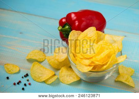 Potato Chips Home Made. Crispy Potato Chips In A Glass Bowl