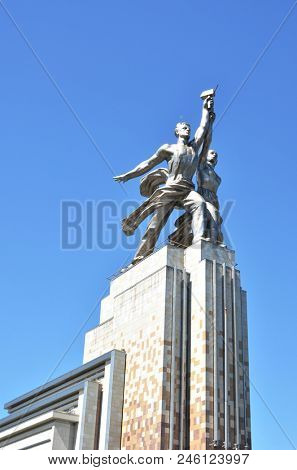 Russia, Moscow, VDNKH, May 21, 2018 - Famous Soviet monument Worker and Kolkhoz Woman (Collective Farm Woman) of sculptor Vera Mukhina. Made of stainless steel in 1937