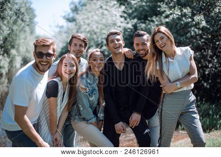 group of creative youth on the background of the Park.