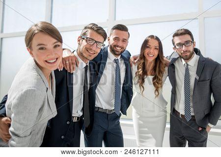 close up.portrait of a friendly business team.