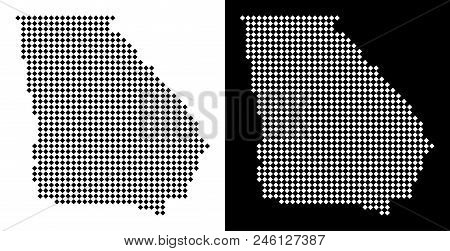 Vector Rhombic Dotted American State Georgia Map. Abstract Territory Maps In Black And White Colors