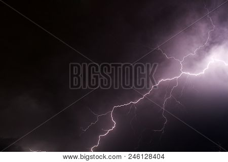 Capture Of A Lightening Strike Late One Night