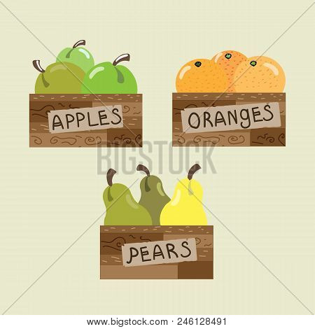 The Boxes With Apples Pears And Oranges. Vector Illustration With Fruits. Flat Design.