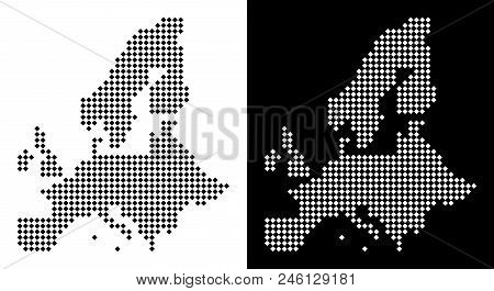 Vector Rhombus Dotted European Union Map. Abstract Territory Maps In Black And White Colors On White