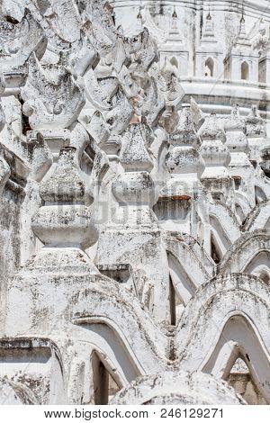 Detail of the white pagoda of Hsinbyume (Mya Thein Dan pagoda ) Paya temple in Mingun near Mandalay, Myanmar