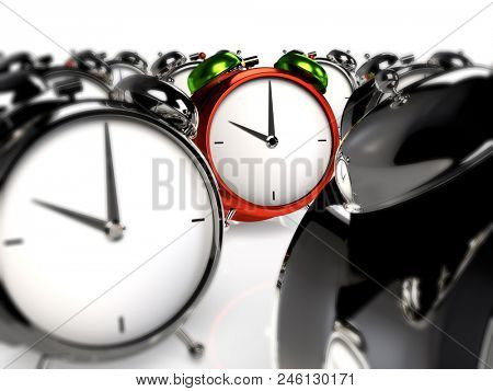 Standing out of the crowd. Colorful alarmclock among the grey alarmclocks. 3D rendering