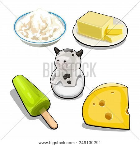 A Set Of Items And Food On The Theme Of Cows Milk Isolated On White Background. Vector Cartoon.
