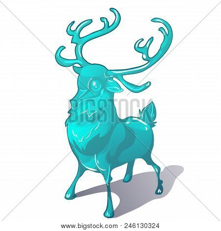 Ice Figurine Of A Deer Isolated On A White Background. The Symbol Of New Year And Christmas. Vector