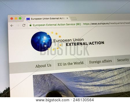 Amsterdam, The Netherlands - June 20, 2018: Official Website The European External Action Service (e